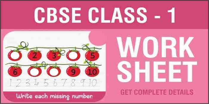 CBSE Class 1 Worksheets
