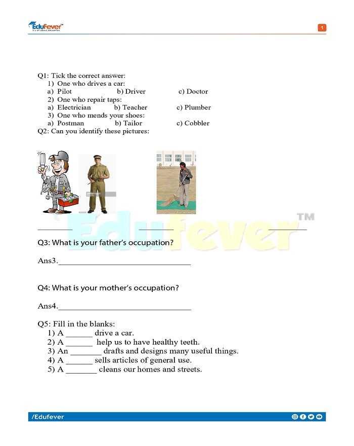 Class 1 EVS Worksheet