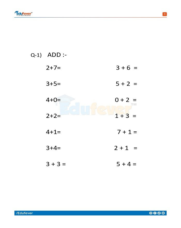 Class 1 Maths Worksheet