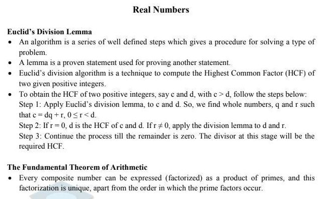 Class 10 Maths Revision Notes