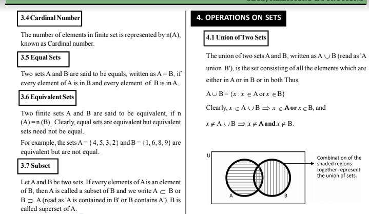 Class 11 Maths Revision Notes