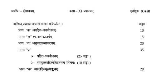 Class 11 Sanskrit Core Syllabus