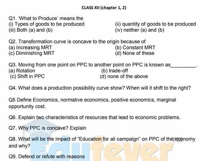 Class 12 Economics Worksheets Example