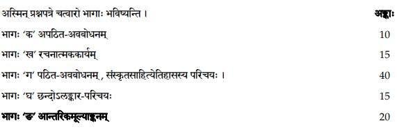 Class 12 Sanskrit Elective Exam Pattern