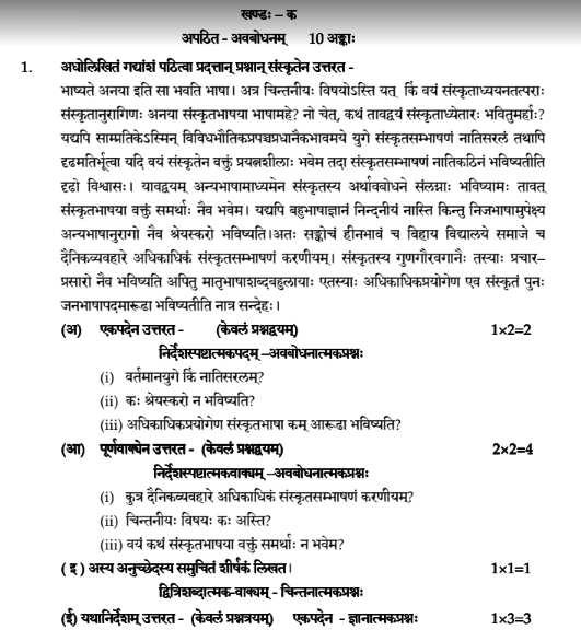 Class 12 Sanskrit Elective Sample Paper