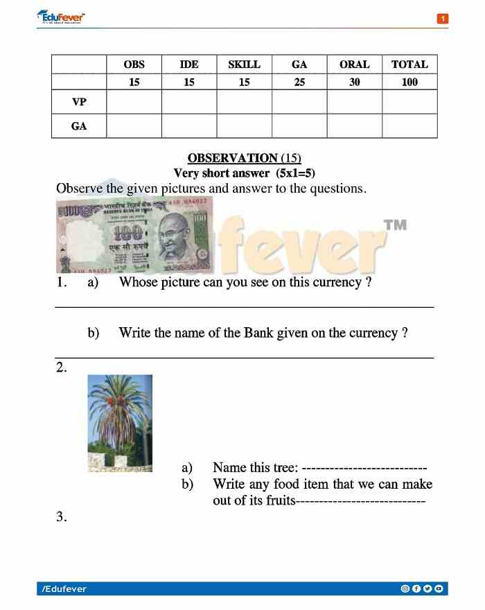 Class 4 EVS Sample Papers