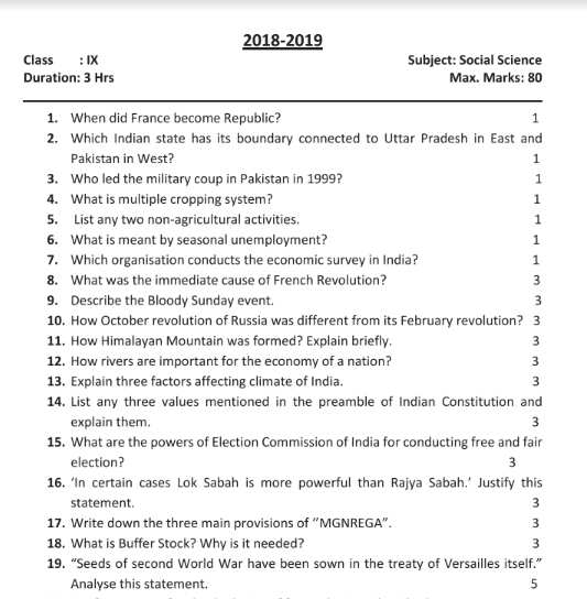 Class 9 Social Science Previous Year Paper Example