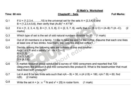 Download Cbse Class 11 Maths Worksheet 2020 21 Session In Pdf