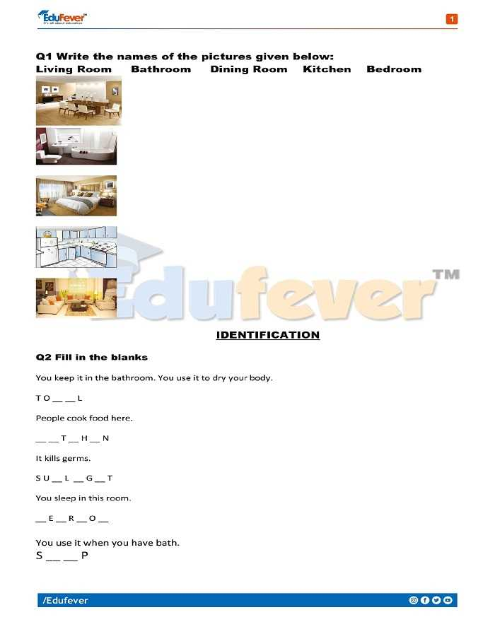 Class 1 EVS Printable Worksheet