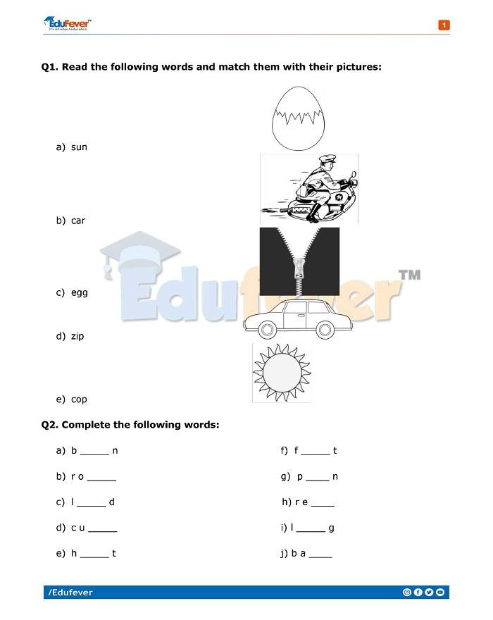 Class 1 English Practice Worksheet