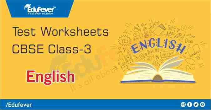 Class 3 English Class Test Worksheet
