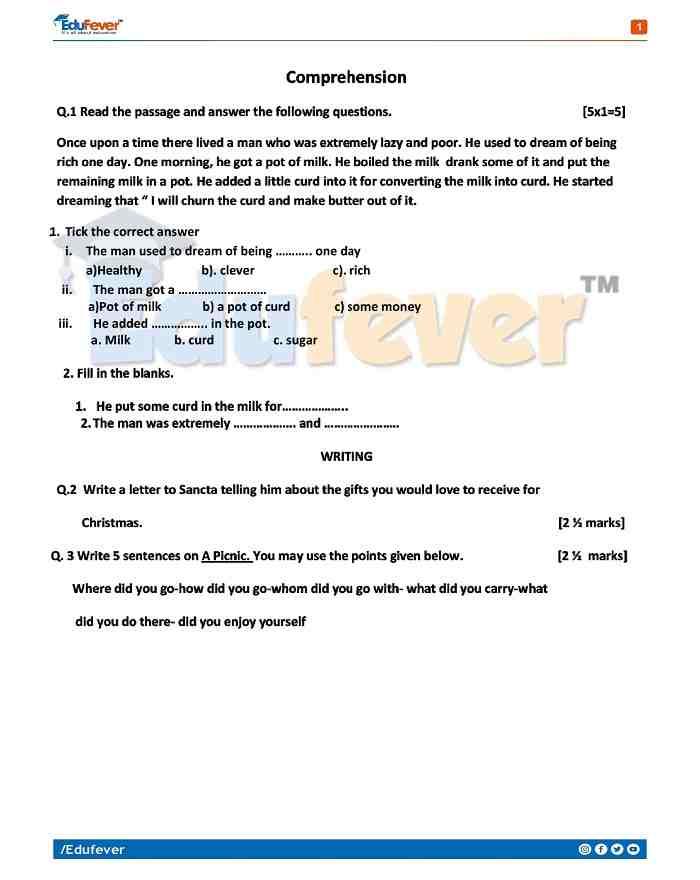 Class 4 English Activity Worksheet