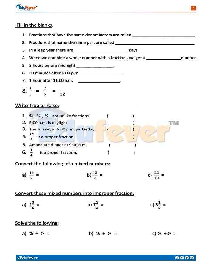 Class 4 Maths Holiday Homework