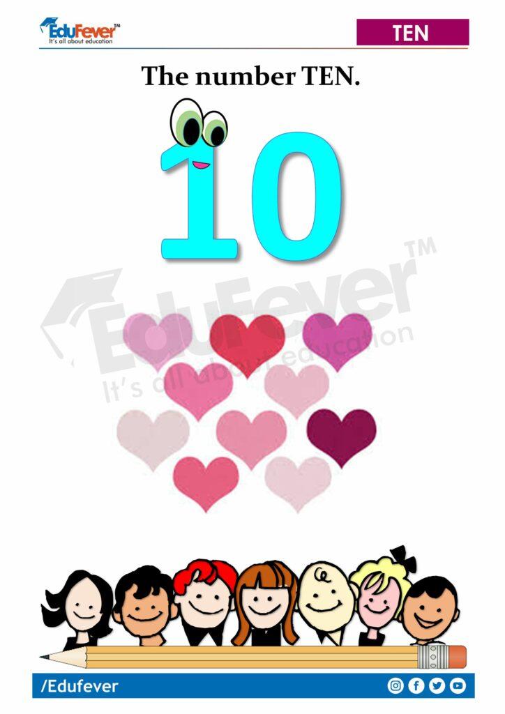 LKG Worksheet - Counting of 10