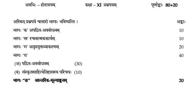 Class-11-Sanskrit-Elective-Exam-Pattern